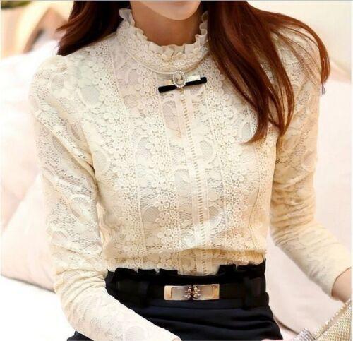 VTG CAMEO ECRU Lace Crochet Guipure Victorian long sleeve blouse top S /& M /& L