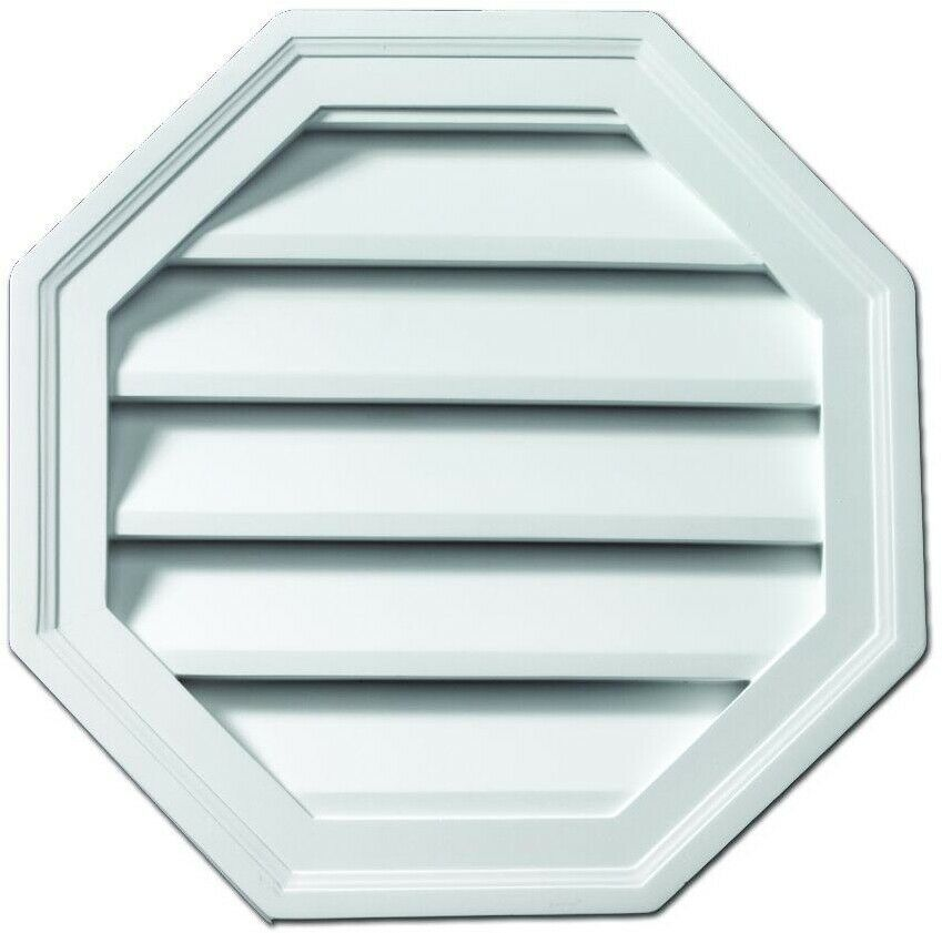18 in. Louver and Gable Vent Polyurethane Functional Octagon, Weather Resistant