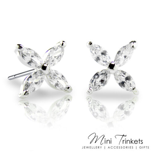Silver Plated Cubic Zirconia Flower Floral Stud Earrings Simple Elegant Gift