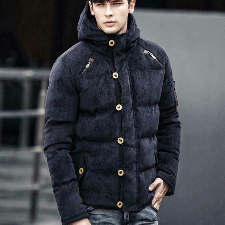 Abrigo para hombre de invierno con capucha  Prendas de abrigo grueso Botón Ajustado Cremallera Chaqueta Cálida NUEVO  Garantía 100% de ajuste