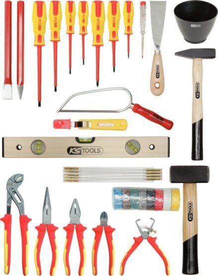 KS TOOLS 117.0180 Elektriker Werkzeugkoffer, 30 tlg. Lederkoffer, Zange, Hammer