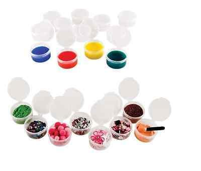 12 pc MINI STORAGE CUPS Jars with Lids Paint Pots Beads Glitter Buttons Pills