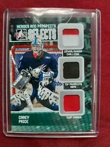 CAREY PRICE 2010 ITG HEROES & PROSPECTS SELECTS SILVER 1 OF 19   3 RELIC CARD