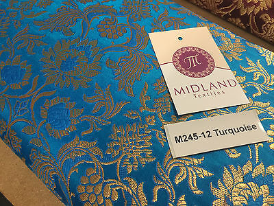 "Indian Banarsi Gold Floral Faux Silk Brocade 43"" Wide M245 Mtex"