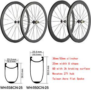 25mm-Width-700C-Carbon-Bicycle-Wheelset-38-50mm-Clincher-Carbon-Wheels-UD-Matte
