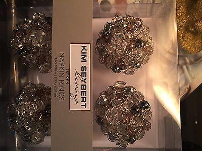 KIM SEYBERT~ Beaded Napkin Ring~SET 4~NEW!