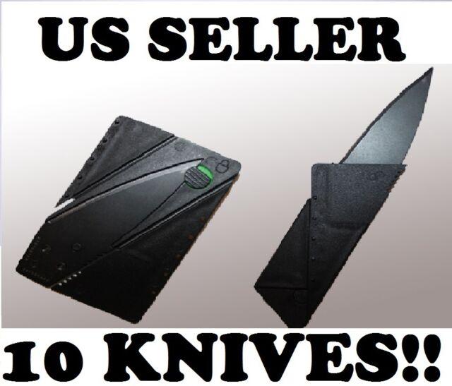 Bulk Lot of 10 Credit Card Knives Pocket Thin Survival Steel Blade Tool Razor