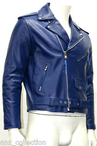 Cowhide Jacket Biker Blue Real Classic Cowboy Brando Mens Style Gents Leather fw6AWq8