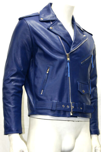 Cowhide Leather Classic Gents Biker Brando Real Cowboy Blue Mens Jacket Style H8qf76w
