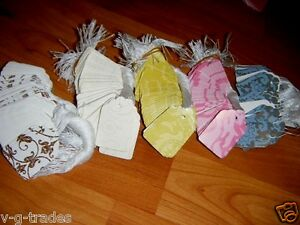 LOT-500-Damask-Print-Paper-Merchandise-Price-Tags-with-White-String-PINK-BLUE-EC