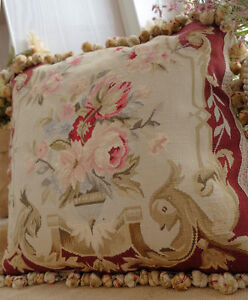 18-034-Burgandy-Pastel-Authentic-Handmade-Rose-in-urn-Flunt-Scroll-Aubusson-Pillow