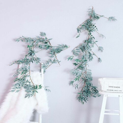 Artificial Vine Fake Leaves Silk Willow Rattan Wicker Twig For Home Decor 1//2Pcs