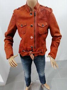 Giubbino-HUGO-BOSS-Donna-Taglia-Size-42-Jacket-Woman-Pelle-Marrone-Vintage-7690