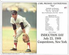 yaz CARL YASTRZEMSKI 8x10 PHOTO Cooperstown HOF Induction Card BOSTON RED SOX #8