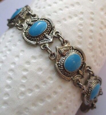 Bracelet Bijou Rétro Couleur Argent Cabochons Bleus Turquoise Main De Fatma 3124 Carino E Colorato