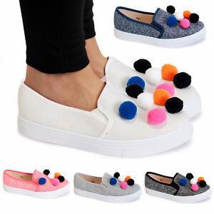 Señoras Mujeres Lona Zapatillas Estilo bombas Slip Pom Niñas Entrenadores Zapatos Planos Siz
