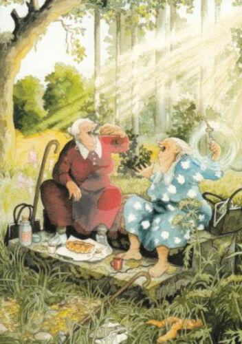"""Inge Löök Nr 13 /""""/'Frauen picknicken/"""" Postkarte Grußkarte Postcrossing Wald Sonne"""