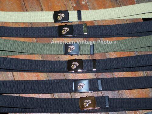 Belt USMC Style Buckle Black Chrome US USMC Marine Corps Military f Jeans Khaki