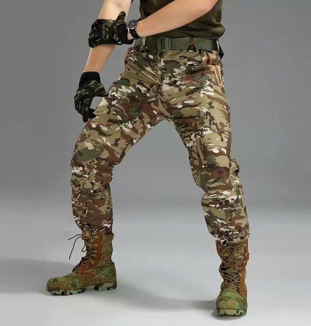 New Men's Military  Soft Shell Waterproof Pants Combat Outdoor Sport Trousers