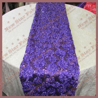 "Table Runner Ribbon Sequin 4083 Satin 3 Pcs 18/"" X 108/"" Wedding Decor Purple"