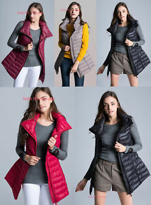 Womens-Warm-Duck-Down-Jacket-Vest-Stand-Collar-Sleeveless-Waistcoat-Long-Coat