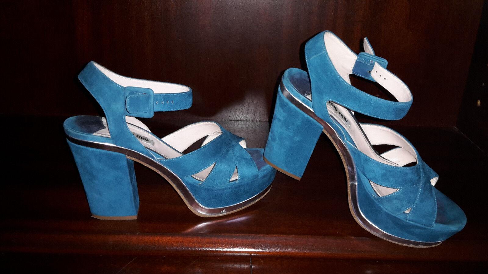 MIU MIU Sandaletten Gr. D 38 Petrol Damen Schuhe High Heels Shoes Pumps TOP