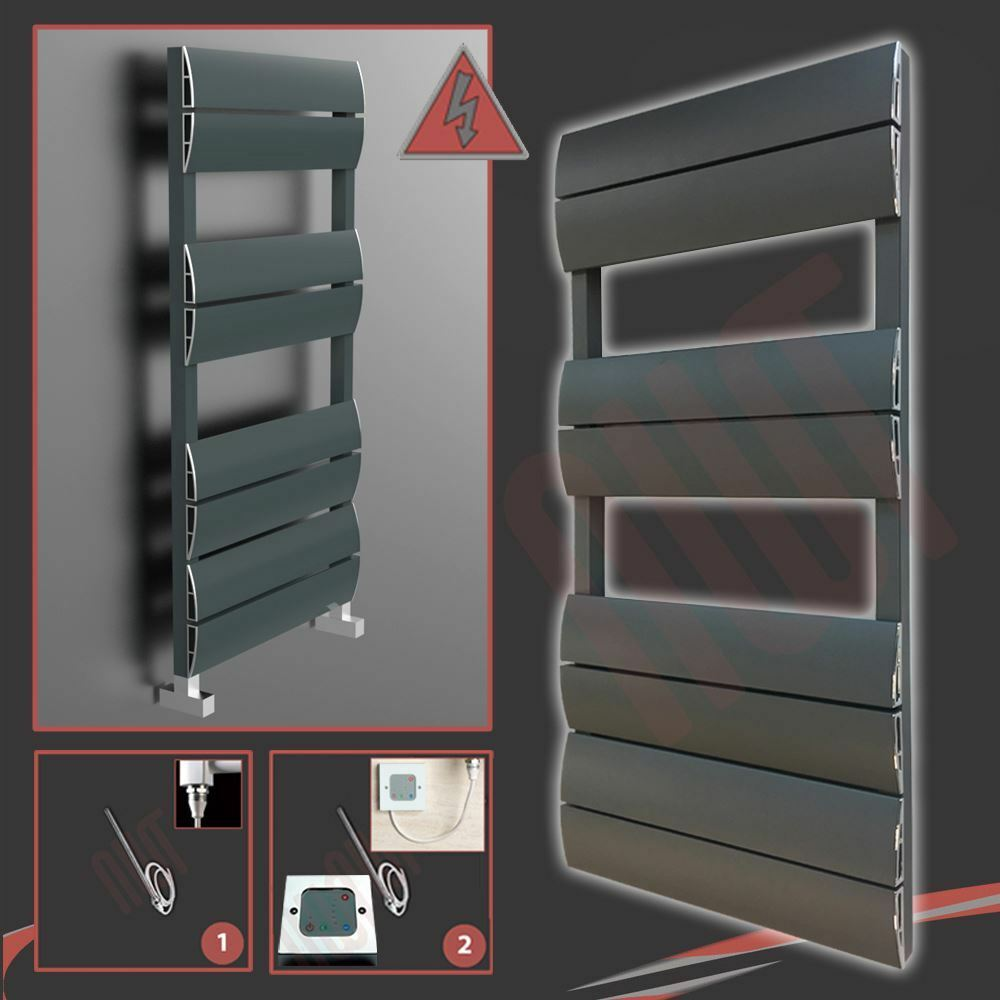 500mm(w) x 1000mm(h) Filled Electric  Wave  Anthracite Aluminium Towel Rail 300W