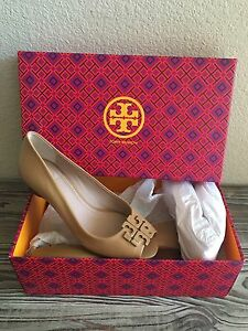 8d4190a490fd0 Tory Burch Lowell Peep Toe Wedges Womens Size 5.5 Heels Shoes 👠