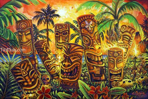 Tiki Everlasting Life Gold Skull Island Volcanic Hawaii CBjork Art Kitsch PRINT