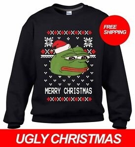 PEPE THE FROG UGLY CHRISTMAS MEME SWEATER PARTY ALL SIZES FREE ...
