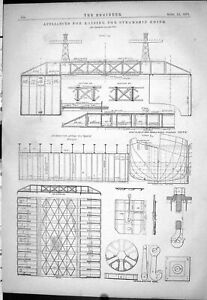 Old-1878-Engineering-Appliances-Raising-Steamship-Edith-Scale-Drawing-Victorian