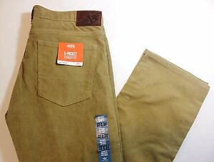 "Men Dockers ""5- Pocket"" Straight Fit Flat Front Tan / Beige Corduroy Pants - $58"