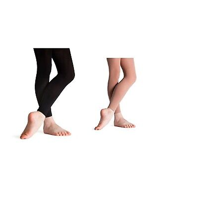 Girls Children/'s Footless Dance Tights Opaque Black-Tan With Spandex 3-13 years
