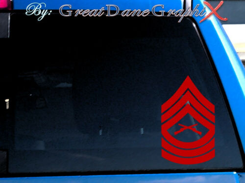 USMC Master Sergeant Rank Chevron Vinyl Decal Sticker - Any Color - HIGH QUALITY