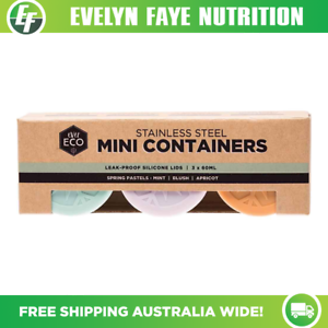 EVER ECO Stainless Steel Mini Containers 3 x 60mlLeak-Proof Silicone Lids