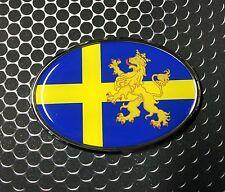 """Sweden Flag Oval Domed CHROME Emblem Flexible Car Sticker 3.25""""x 2.25"""" SVERIGE"""