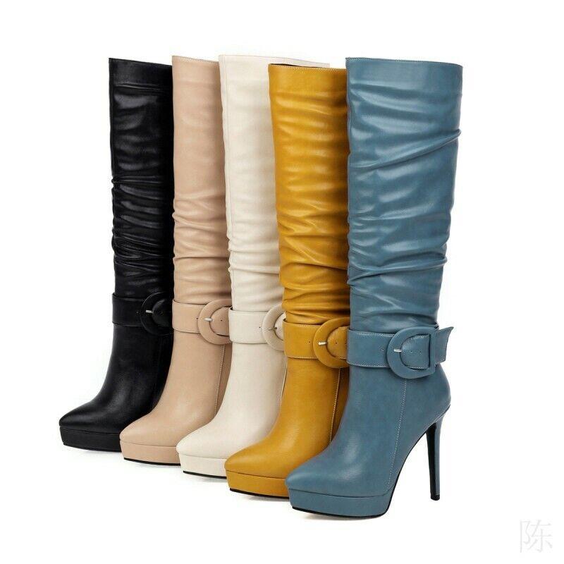 Damen Okzident Stiefel Schnalle High Stilettos Heels Spitzer Zeh Schuhe Stiefel