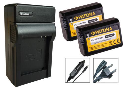 2 x patona BATERIA de np-fw50 cargador para Sony nex-6//nex-6l//nex-6y