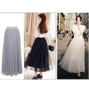 Princess-Skirt-Womens-Petticoat-Tulle-Long-Dress-Multi-Layer-Tutu-Pleated-Skirt