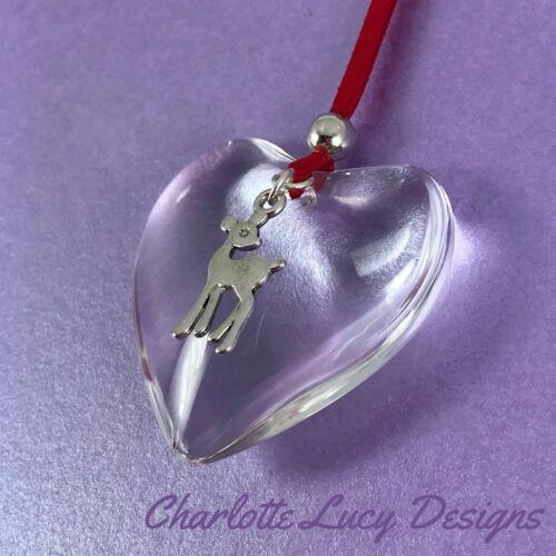 Handmade suspendu verre Coeur Décoration Cadeau de Noël avec Deer Charme Babiole