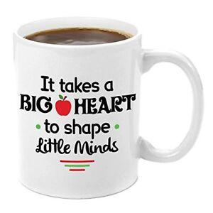 New-Premium-Teacher-11-oz-White-Ceramic-Coffee-Tea-Mug-It-Takes-a-Big-Heart