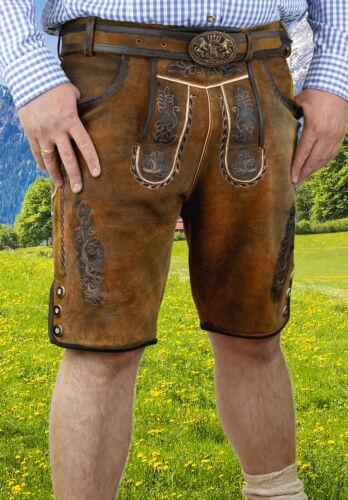 Hommes Costumes Pantalon Cuir Dans Marron Clair Incl costumes ceinture taille 44-56 bovins