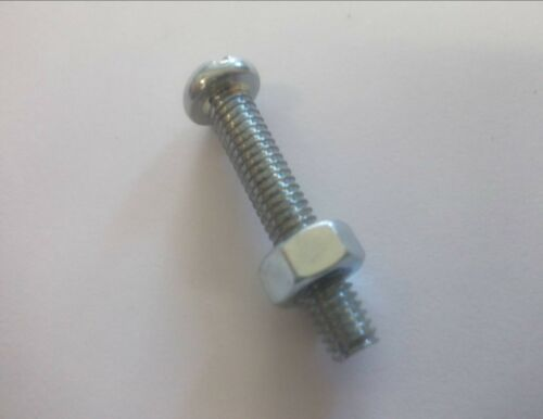 "5 x 2BA 1/"" Slotted round head machine bolt screws with nuts."