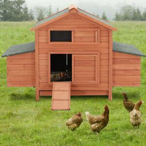 Large Chicken Coop Hen Poultry Ark Outdoor House Rabbit Duck Run Hutch Nest Box