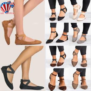 Fashion-Ankle-Strap-Ballerina-Womens-Flats-Ballet-Pumps-Summer-Comfy-Shoes-Size