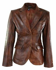 Ladies-Women-Real-Leather-Slim-Fit-Smart-Casual-Tan-Brown-Jacket
