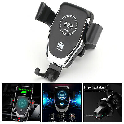QI Wireless Fast Charger Car Mount Holder Dock For iPhone XS Max Samsung S9 BLK | eBay