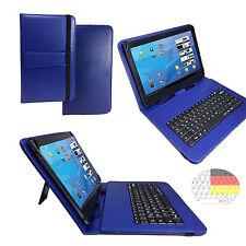 10.1 zoll Qwertz Tablet Tasche Samsung Galaxy Tab A6 Etui Hülle - Tastatur Blau