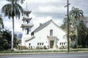 35mm Slide Hawaii Buddhist Temple 1950s Vintage Red Kodachrome