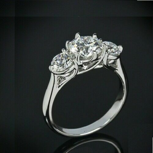 Details about  /2.80 Ct Round Cut 3-Stone Engagement Wedding Ring Real Solid 14K White Gold